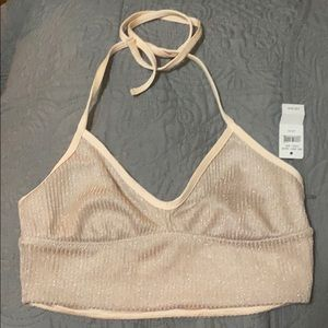 Aerie Shiny Halter Bralette XS and NWT